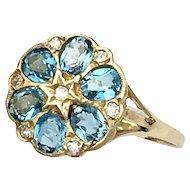Vintage Diamond and Blue Topaz 9K Gold Flower Cluster Ring