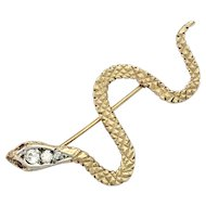 Vintage 9K Gold Ruby Eyed Snake Brooch