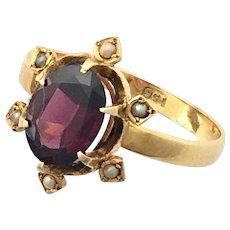 Victorian Almandine Garnet, Seed Pearl and 9K Gold Renaissance Revival Ring