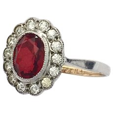 Antique 9K Gold and Silver Paste Ruby Ring