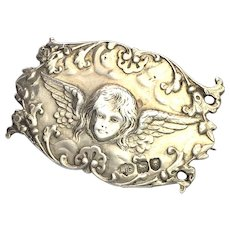 Antique Sterling Silver Angel Brooch by William Comyns