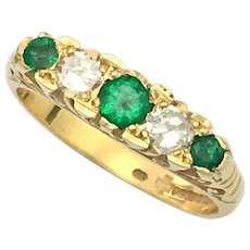 Emerald and Diamond 18K Gold Antique Style Dress Ring