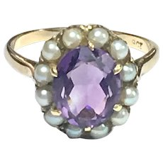 Antique Amethyst and Pearl 9K Gold Halo Ring