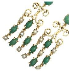 Vintage 9K Gold Green Hardstone and Seed Pearl Chandelier Earrings