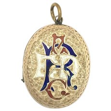 Victorian 9K Gold Enamelled Monogram Photograph Locket