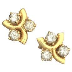 Vintage Three-Stone Diamond 9K Gold Stud Earrings