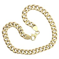 Vintage 14K Gold Curb Chain Bracelet or Ankle Chain