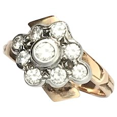Vintage 14K Rose Gold Diamond Cluster Ring