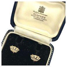 Vintage Gieves 9K Gold and Pearl Naval Crown Screwback Earrings