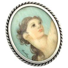 Vintage Italian Handpainted Miniature Silver Pendant/Pin