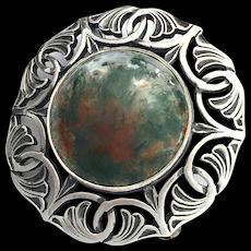 Vintage Silver Moss Agate Celtic Brooch