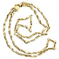 Vintage 9K Gold Fancy Twist Chain Link Necklace