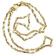 Vintage 9K Gold Fancy Twist Chain Link Necklace