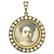 Antique Paste Framed Photograph Locket Pendant