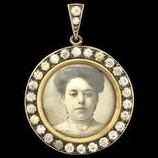 Antique Paste Framed Photograph Locket Pendant