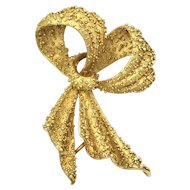 Unique Handmade 1970s Granulated 18K Gold Ribbon Bow Brooch