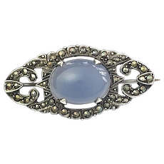 Art Deco Sterling Silver Blue Chalcedony and Marcasite Brooch
