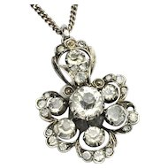 Antique Paste Sterling Silver Cluster Pendant Necklace