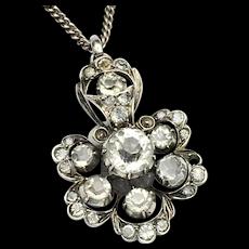 Antique Paste Sterling Silver Cluster Pendant Necklace