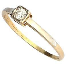 Art Deco Diamond 18K Gold and Platinum Solitaire Ring