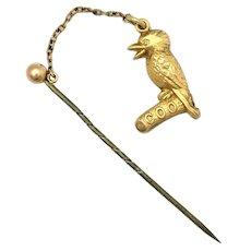 Edwardian 9K Gold Australiana Kookaburra Stick Pin by Johnson & Simonsen