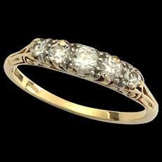 Victorian Five-Stone Diamond 18K Gold Ring