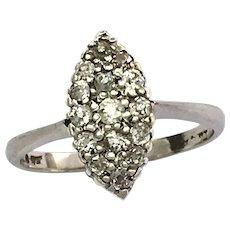 Vintage 18K White Gold Diamond Navette Ring