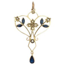 Edwardian 9K Gold, Paste Sapphire and Seed Pearl Lavalier Pendant