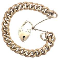 Antique 9K Rose Gold Curb Chain Bracelet with Padlock