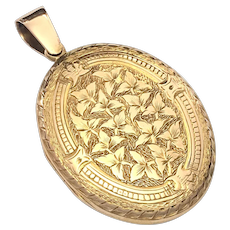 Victorian 9K Rose and Yellow Gold Engraved Photograph Locket Pendant