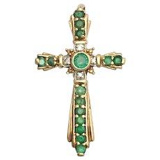 Vintage Emerald and Diamond 9K Gold Cross Pendant