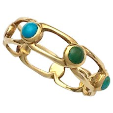 Victorian Turquoise 18K Gold Chain Link Ring