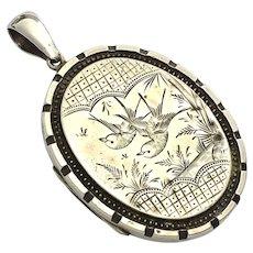 Large Victorian Aesthetic Period Silver Locket Pendant