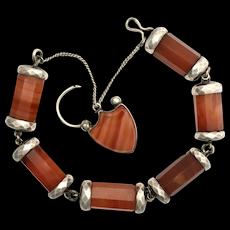 Victorian Scottish Red Agate Silver Padlock Bracelet