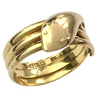 Art Deco 18K Gold Chester Coiled Snake Ring - Unisex