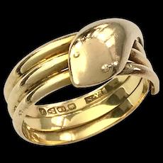 Art Deco 18K Gold Chester Coiled Snake Ring - Unisex