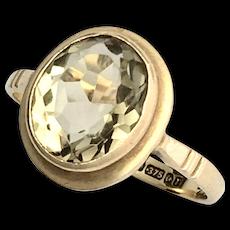Vintage English 9K Gold Citrine Ring