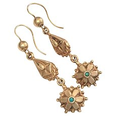 Victorian 9K Rose Gold Turquoise Earrings