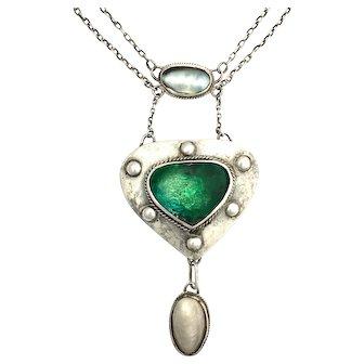 Antique Arts and Crafts Green Enamel Baroque Pearl Silver Necklace