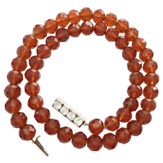 Antique Amber Glass Bead Necklace with 9CT Rose Gold Paste Clasp