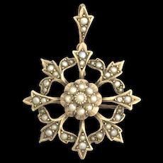 Antique 9K Gold Seed Pearl Starburst Pendant/Brooch