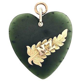 Large Victorian 9K Gold New Zealand Nephrite Jade Heart Pendant