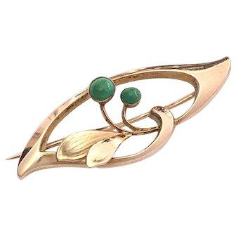 Art Nouveau 9K Rose Gold Turquoise Flower Brooch