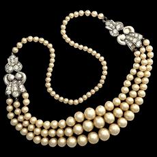 Vintage Sterling Silver Paste Faux Pearl Necklace