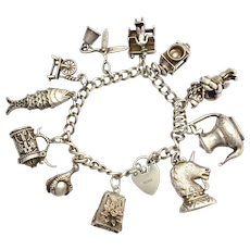 Heavy Vintage Sterling Silver Padlock Bracelet with 11 Charms