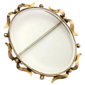 Antique 9K Gold Oval Photo Frame/Mourning Brooch