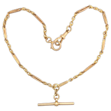 Antique English 9K Rose and Yellow Gold Albert Watch Chain