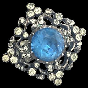 Antique Sterling Silver Blue Paste Brooch