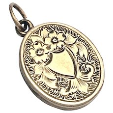 Victorian Engraved 9K Gold Locket Pendant