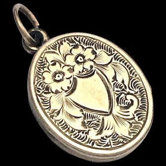 Victorian Engraved 9K Gold Locket Pendant